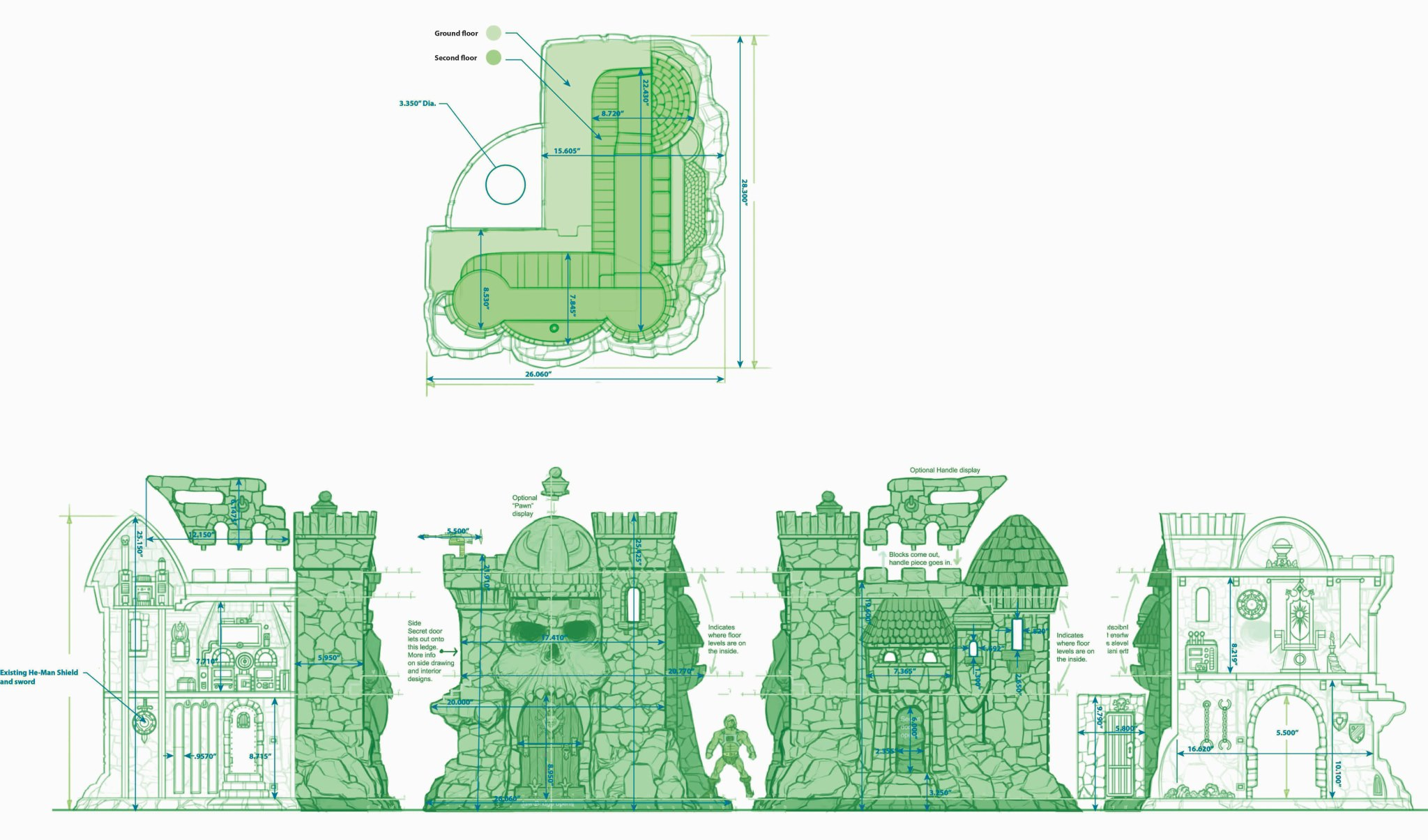 Castle Grayskull Blueprints Vs Prototype