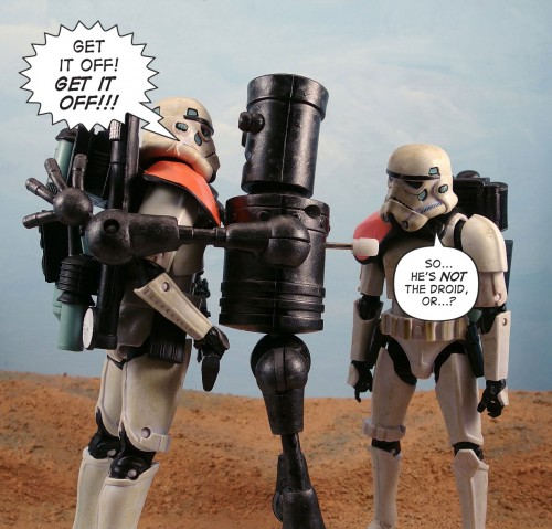 Get it off! GET IT OFF! / So, he's NOT the droid, or...?